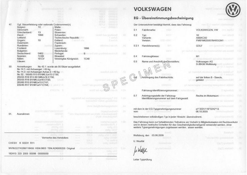 Exemple certificat de conformité VW Golf